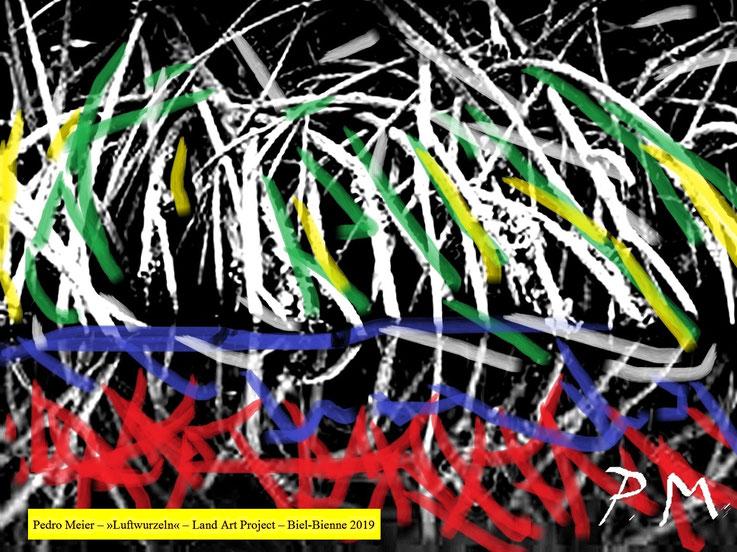 Pedro Meier Skizzen zu Land Art Biel-Bienne 2019 Bözinger Wald Projekt »Luftwurzeln« Landschaftsarchitektur, Earth art, Urban Art Brut, Steinkunst © Pedro Meier Multimedia Künstler Niederbipp. Kunsthalle Olten, Bangkok BACC. Visarte Schweiz. SIKART Zürich
