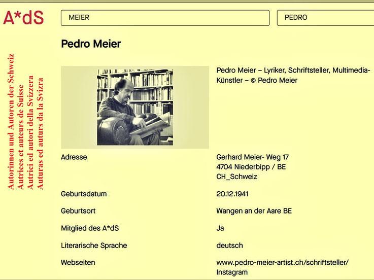 Pedro Meier Mitglied – A*dS Lexikon Autorinnen und Autoren der Schweiz – AdS, Schweizerischer Schriftsteller-Verband (SSV) Zürich – Pedro Meier, Lyriker, Schriftsteller, Multimedia-Künstler – SIKART Künstlerlexikon Zürich – ProLitteris – Visarte – FotoCH