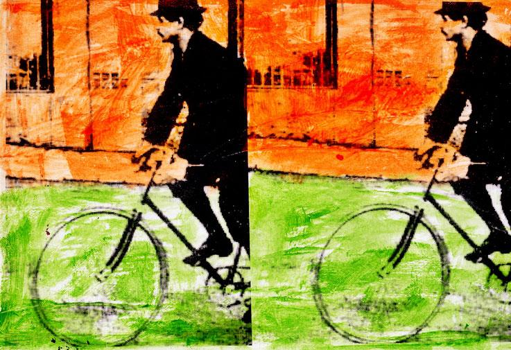 Pedro Meier Galerie 16b Zürich – Alfred Jarry auf Veloziped, König Ubu, DADA-Vorläufer – Papier / Leinwand – Art Work by © Pedro Meier Multimedia Artist – KUNSTRAUSCH, Ausstellungsstrasse 16 beim Carparkplatz Sihlquai, HB Zürich – Kunst Zürich Art, SIKART