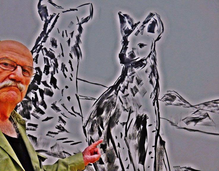 Pedro Meier SelfieArt – Herbert Brandl »Hyänenpause« Galerie nächst St. Stephan Wien – Vernissage Museum Franz Gertsch Burgdorf – 2017 © Pedro Meier Multimedia Artist MoMA Visual Art Museum Bangkok – FLUXUS DADA, SIKART Zürich, Niederbipp Bern Switzerland