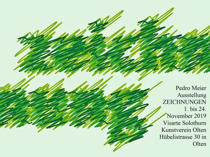Pedro Meier ZEICHNUNGEN, Ausstellung, 1. bis 24. November 2019, Visarte Solothurn – Kunstverein Olten, Hübelistrasse 30 Olten. Pedro Meier Multimedia Künstler. Ateliers: Niederbipp Gerhard Meier-Weg, Kunsthalle Olten, Bangkok Art Group BACC, SIKART Zürich