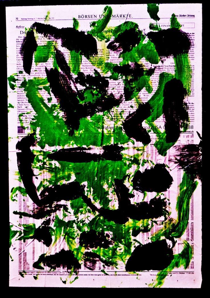 Pedro Meier Artist – NZZ Börsen & Märkte – übermalt – Lackfarben – 2016 - Nr. 2– Foto © Pedro Meier Multimedia Artist Gerhard Meier Weg – Niederbipp – Olten – Bangkok