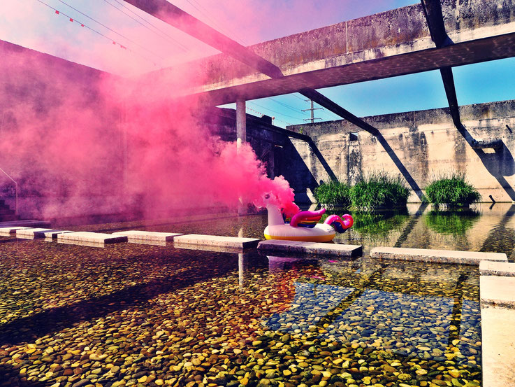 Pedro Meier Pink Colour Smoke Bomb Action »Weisses Einhorn«, Rauch Performance. Uferpark Campus Attisholz Areal Solothurn, Kantine 1881 © by Pedro Meier Multimedia Artist Niederbipp. Kunsthalle Olten. Bangkok Art Group BACC Visarte. Lexikon SIKART Zürich