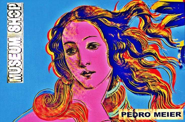 Pedro Meier: Andy Warhol, Birth of Venus, Sandro Botticelli. Ausstellung »MuseumsShop & Wunderkammer«. Eine Persiflage / Parodie auf den kommerzialisierten Museumsbetrieb. Installation Pedro Meier Multimedia Artist Attisholz, Bangkok-BACC. SIKART Zürich