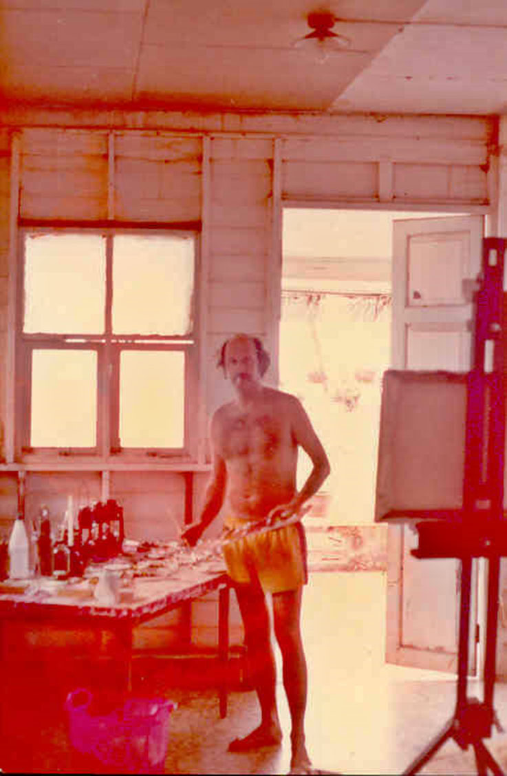 Pedro Meier Bang Saen Studio, Archive Photo 1983 © Pedro Meier Multimedia Artist has lived on the Gulf of Siam Thailand for over 40 years. Member of Swiss Society Bangkok BACC Gallery Exhibition Nai Lert Park Gallery Hilton. Sawasdee Magazine Thai Airways