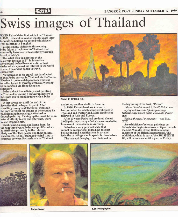 Swiss images of Thailand by Pedro Meier Art Exhibition, Bangkok Post Newspaper, 12.11.1989 by Roger Crutchley, Nai Lert Park Gallery at Hilton. Gallery Bangkok BACC, Pedro Meier Writer, SIKART Zürich Schriftsteller – www.autorenwelt.de/person/pedro-meier