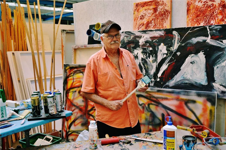 Pedro Meier in seinem Fabrik-Atelier in der Oltner Industrie. Der 75-Jährige ist der Sohn des Schriftstellers Gerhard Meier – »OLTNER TAGBLATT« – Foto: Isabel Hempen – 2017 Archiv Pedro Meier