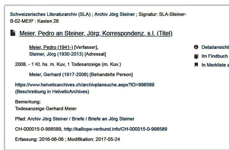 Pedro Meie – Schweizerisches Literaturarchiv (SLA); Archiv Jörg Steiner – Korrespondenz – Kalliope Verbund Katalog – Archiv Pedro Meier, Dichter, Lyriker, Niederbipp – AMRAIN BOOKS – ProLitteris – SIKART Zürich – www.autorenwelt.de/person/pedro-meier