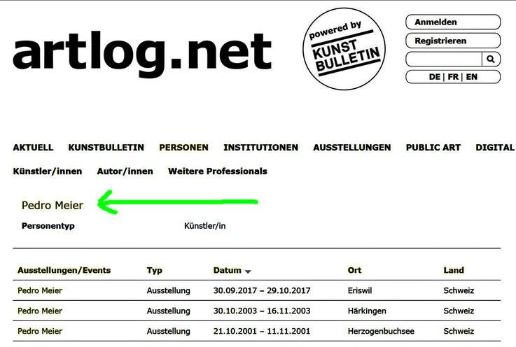 Pedro Meier – artlog.net by Kunstbulletin. Zeitschrift für zeitgenössische Kunst, Schweizer Kunstverein; verlinkt mit Schweizerische Institut für Kunstwissenschaft (SIK-ISEA) Zürich – Digitale Datenbank Kunstarchiv SIKART Lexikon zur Kunst in der Schweiz