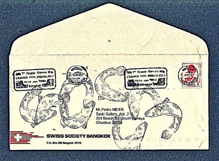 Pedro Meier Mail Art. Swiss Society Bangkok, Briefumschlag übermalt mit Fischen. 1999. Adressiert an Santi Gallery Bangkok. Photo © Pedro Meier Multimedia Artist. Atelier: Gerhard Meier-Weg, Niederbipp, Kunsthalle Olten Offspace, Bangkok Art-Group. SIKART