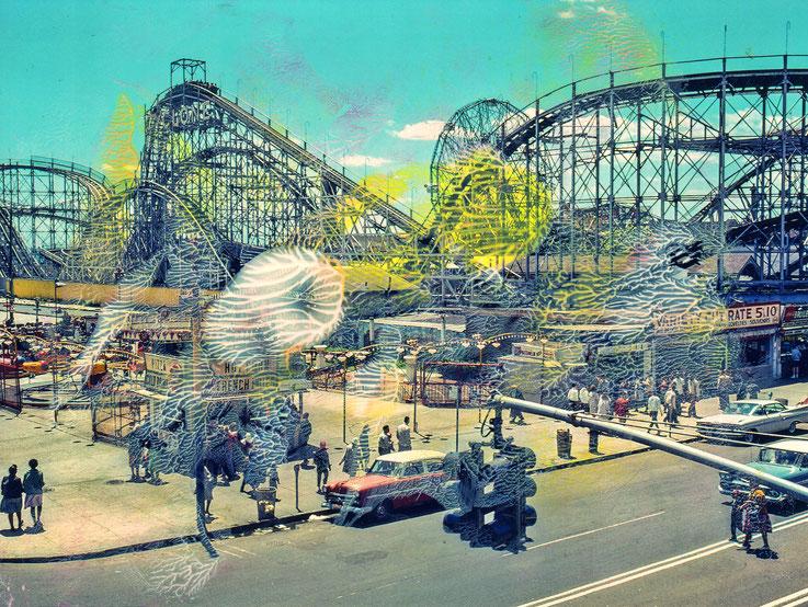 Pedro Meier – Nostalgie – Coney Island – Oil/lacquer on photo paper – Monotype – 2018 – Dreamland Luna Park, Brooklyn – New York – Photo © Pedro Meier Multimedia Artist MoMA Bangkok – FLUXUS – DADA – SIKART Zürich – Gerhard Meier Weg Niederbipp
