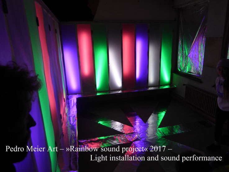 Pedro Meier Art – »Rainbow sound project« 2017 – Light installation and sound performance – Photo © by Pedro Meier Multimedia Artist (Bangkok Niederbipp) – ArtCampus Switzerland