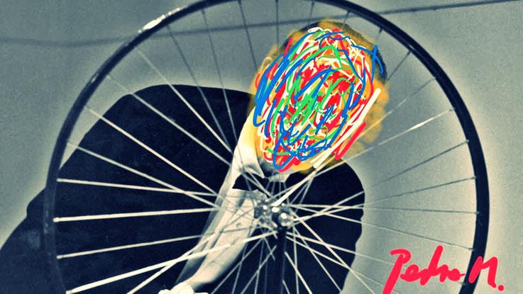 Pedro Meier Marcel Duchamp Paraphrase zu Readymade Fahrrad-Rad NYC – DigitalArt Intervention by © Pedro Meier Multimedia Artist – Kunsthalle Olten Offspace – Atelier Gerhard Meier-Weg Niederbipp und Bangkok Thailand – PhotoArt DADA VISARTE, SIKART Zürich