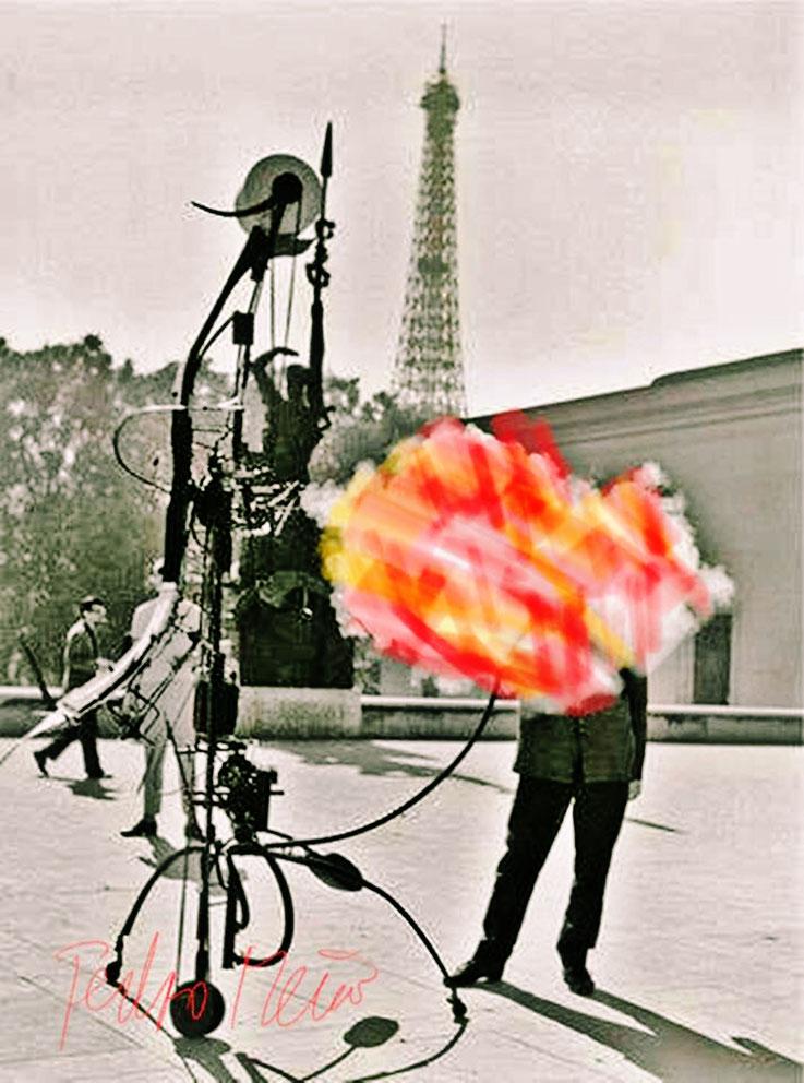 Pedro Meier – Jean Tinguely – portrait de l'artiste – Paris Tour Eiffel – Paraphrase ArtWork by © Pedro Meier Multimedia Artist – Kunsthalle Olten– Atelier Gerhard Meier-Weg Niederbipp und Bangkok Thailand – PhotoArt DigitalArt DADA VISARTE, SIKART Zürich