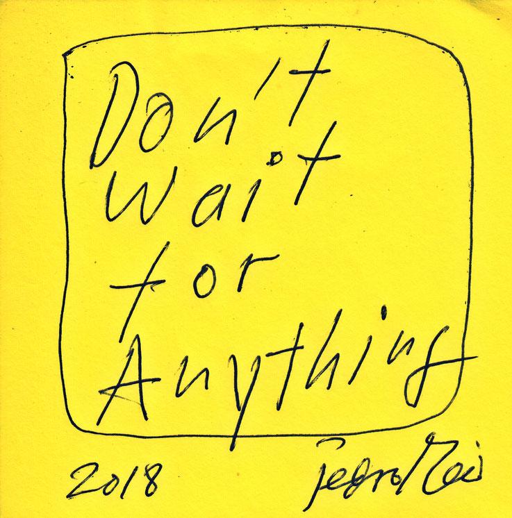 Pedro Meier Quote / Zitat – »DON'T WAIT FOR ANYTHING« – Archive Pedro Meier Multimedia Artist – Atelier Gerhard Meier-Weg Niederbipp and Bangkok Thailand – Kunsthalle Olten – DiaryArt, DigitalArt, PhotoArt – FLUXUS DADA, Visarte, SIKART Zürich Switzerland