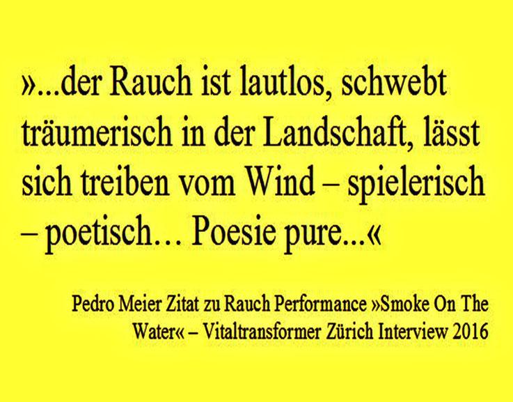 Pedro Meier Vitaltransformer Zürich Interview 2016, »...der Rauch ist lautlos, schwebt träumerisch in der Landschaft, lässt sich treiben vom Wind – spielerisch – poetisch… Poesie pure...«, Zitat zu Rauch Performance »Smoke On The Water« Bremgarten. SIKART