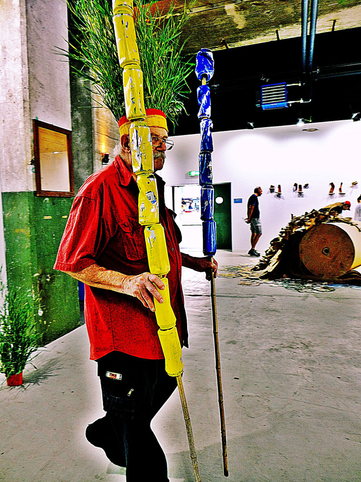 The last Mohicans. Fluxus DADA Performance – Climate Change Installation by © Pedro Meier: Bamboo, Cellulose, trash found alu beer cans, Homage to the indigenous Amazon peoples Native American Indians. Gesamtkunstwerk. Campus Attisholz. SIKART Zürich