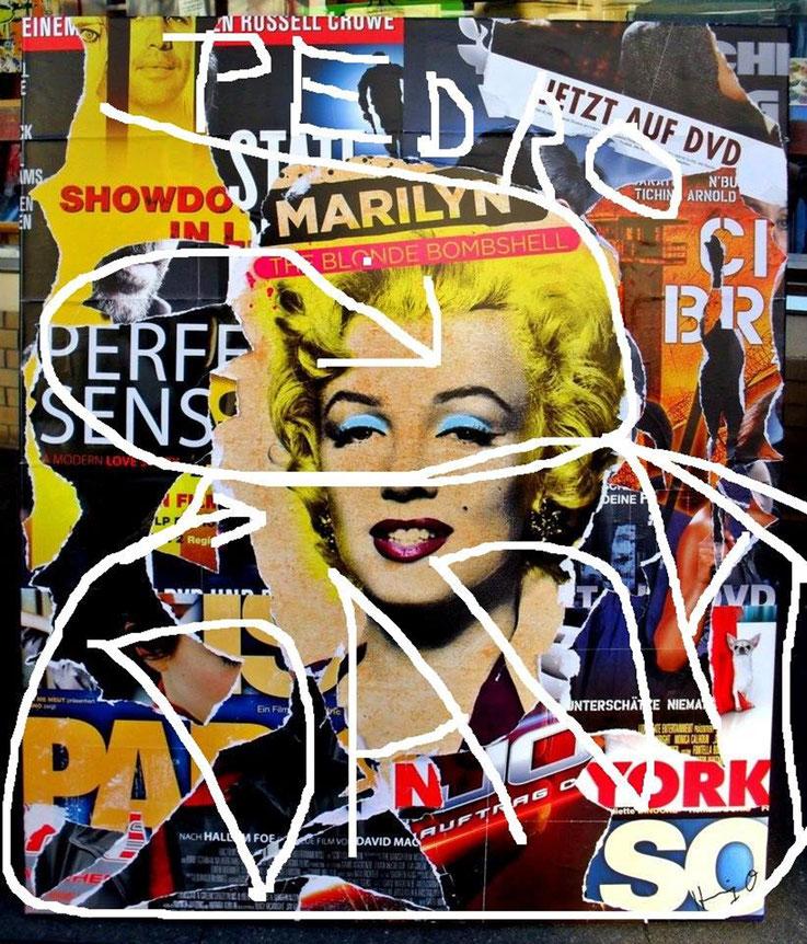 Pedro Meier DigitalArt – Marilyn Monroe – DADA – overpainted Collage – 2016 Artwork by © Pedro Meier Multimedia Artist MoMA – Visual Art Museum Bangkok – FLUXUS – DADA – ComputerArt – SIKART Zürich – Atelier: Niederbipp Bern, Oberaargau Switzerland