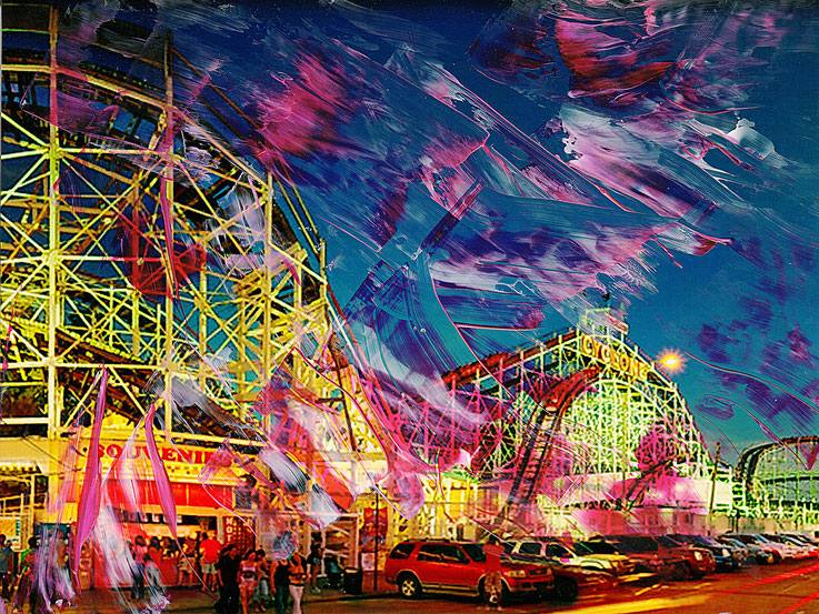 Pedro Meier Multimedia Artist – Coney Island Cyclone – Oil/lacquer on photo paper – monotype – 2017 – Dreamland Luna Park, Brooklyn – New York – Photo © Pedro Meier / ProLitteris – Gerhard Meier-Weg – Niederbipp Museum DADA MoMA Guggenheim Kunsthalle USA