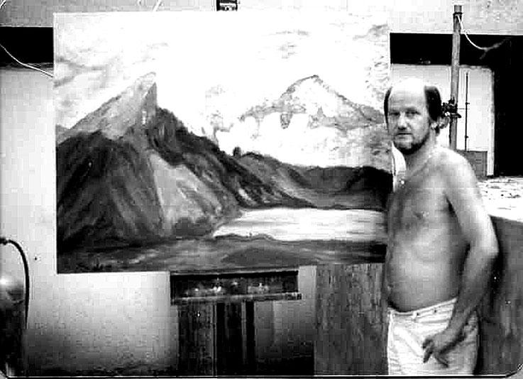Pedro Meier SelfieArt 1980 – Studio Bangkok Sukhumvit Road, Soi 13 – auf Staffelei Ölbild Lauerzersee Schwyz in Arbeit – Selfie-Art-Project 1980 © Pedro Meier Multimedia Artist MoMA Visual Art Museum – FLUXUS – DADA – SIKART Zürich – Bern – Switzerland