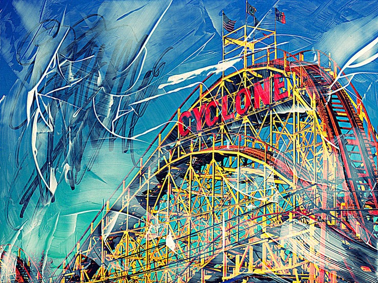 Pedro Meier – CYCLONE – Coney Island – Oil/lacquer on photo paper – Monotype – 2018 – Dreamland Luna Park, Brooklyn – New York – Photo © Pedro Meier Multimedia Artist MoMA Bangkok – FLUXUS – DADA – SIKART Zürich – Gerhard Meier Weg Switzerland