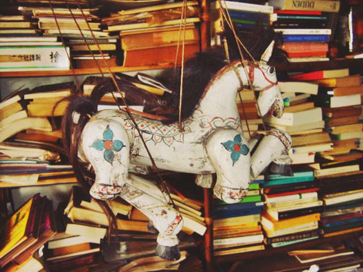 Pedro Meier »Pegasus vor Büchern in der Dschungelbibliothek am Golf von Siam« – Malhütte am Meer unweit Kambodschas 2005 – Photo © Pedro Meier Multimedia Artist / ProLitteris – Niederbipp – Bangkok