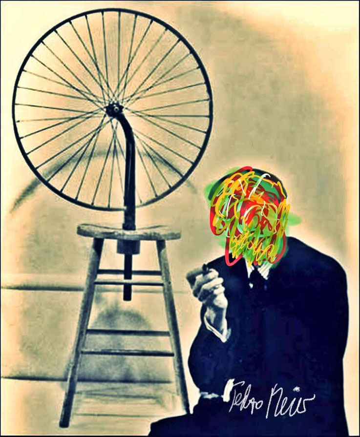 Pedro Meier – Marcel Duchamp New York Fahrrad-Rad Readymade – DigitalArt Intervention Paraphrase by © Pedro Meier Multimedia Artist – Kunsthalle Olten Offspace – Atelier Gerhard Meier-Weg Niederbipp und Bangkok Thailand – PhotoArt DADA VISARTE, SIKART ZH