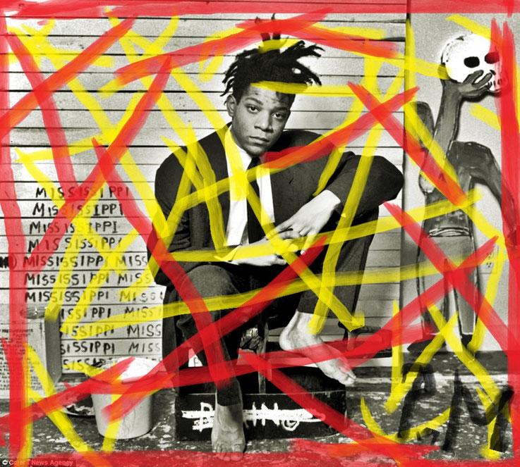 Pedro Meier DigitalArt – Jean-Michel Basquiat – Paraphrase Nr. 06 – Portrait overpainted 2016 Artwork by © Pedro Meier Multimedia Artist MoMA – Visual Art Museum Bangkok – FLUXUS – DADA – ComputerArt. SIKART Zürich – Niederbipp Bern, Solothurn Switzerland