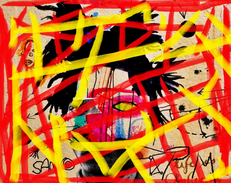 Pedro Meier – »Jean-Michel Basquiat übermalt« – Paraphrasen – Portrait Nr. 2 – 2016 – Acryl über Foto-Papier – Photo © Pedro Meier Multimedia Artist / ProLitteris – Gerhard Meier Weg – Niederbipp – Olten – Bangkok