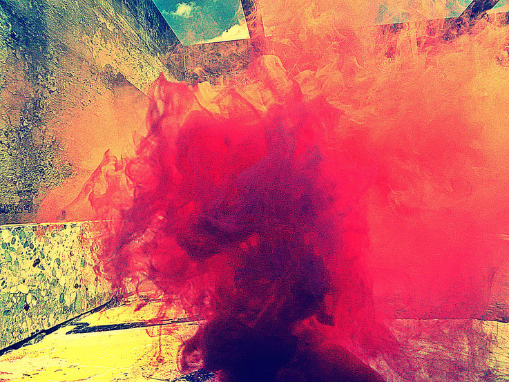 Pedro Meier Pink Red Yellow Colour Smoke Bomb Action »Pink Flamingo« RauchPerformance, Campus Attisholz Areal Uferpark Solothurn, Kantine 1881 © by Pedro Meier Multimedia Artist Niederbipp. Kunsthalle Olten. Bangkok Art Club BACC Visarte Lexikon SIKART ZH