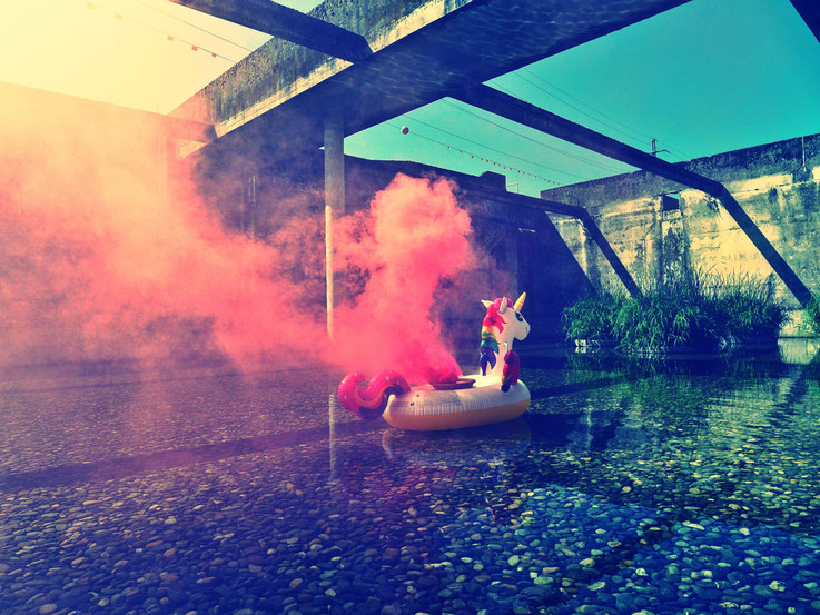 Pedro Meier Rauch Performance »Weisses Einhorn«, Pink Colour Smoke Bomb Action. Uferpark Campus Attisholz Areal Solothurn, Kantine 1881 © by Pedro Meier Multimedia Artist Niederbipp. Kunsthalle Olten. Bangkok Art Group BACC Visarte. Lexikon SIKART Zürich