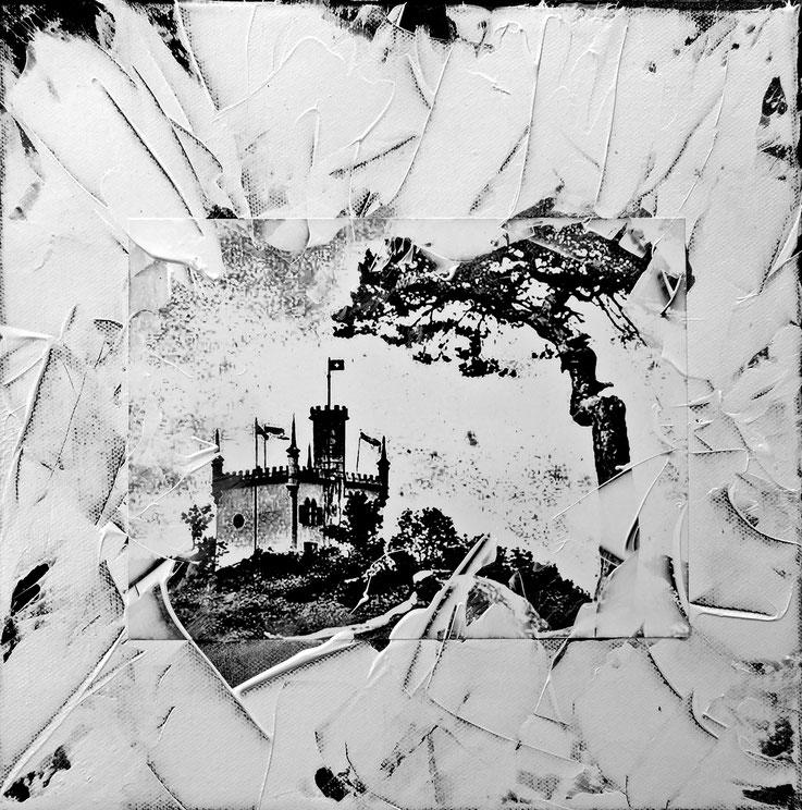 Pedro Meier – Sälischlössli Olten – 30 × 30 cm Acryl – Papier auf Leinwand – Ausstellung Kunstverein Olten – SCHWARZ-WEISS – VISARTE Solothurn 2017 – Foto © Pedro Meier / ProLitteris – Gerhard Meier-Weg Niederbipp – Atelier – Olten – Bangkok  Museum