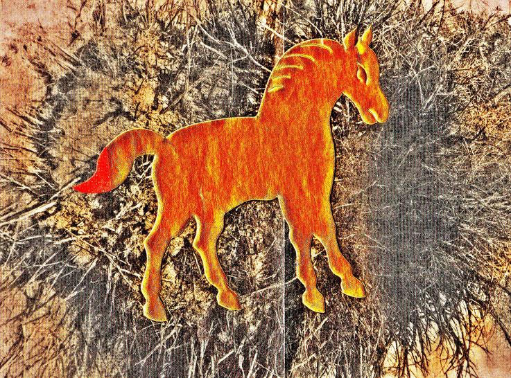 Pedro Meier – »A golden horse in the painting – No. VII« – Mix Media artwork by Pedro Meier – 2017 – Photo © Pedro Meier Multimedia Artist / ProLitteris – Gerhard Meier Weg – Atelier – Niederbipp – Olten – Bangkok