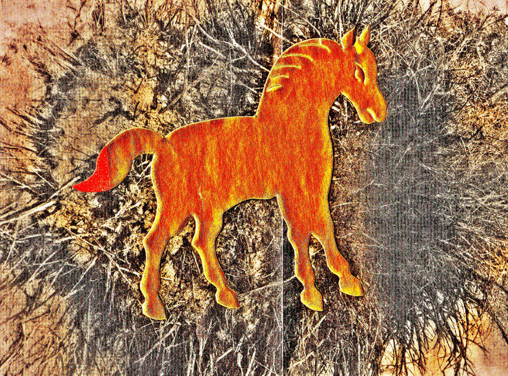 Pedro Meier DigitalArt – »A golden horse in a painting – No.VII«. 2017 Artwork by Pedro Meier © Multimedia Artist MoMA – Visual Art Museum Bangkok – FLUXUS – DADA – ComputerArt – SIKART Zürich. Atelier: Niederbipp Bern bei Solothurn Oberaargau Switzerland