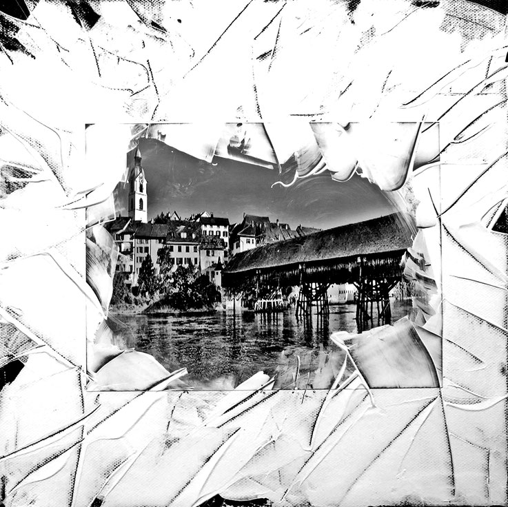 Pedro Meier – Olten mit alter Holzbrücke – 30 × 30 cm Acryl auf Papier auf Leinwand 2017 – Foto © Pedro Meier / ProLitteris – Gerhard Meier-Weg Niederbipp – Atelier – Olten – Bangkok Kunsthaus Zürich VISARTE Museum Kunstmuseum Künstler Sikart Kunsthalle