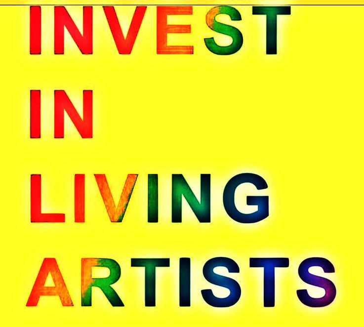 Pedro Meier Zitat »Invest In Living Artists«. 2019 by © Pedro Meier Multimedia Artist, Ateliers: Gerhard Meier-Weg Niederbipp, Olten Kunsthalle, Bangkok BACC, Golf von Siam Thailand Bangkok Art Group. Art Basel. Visarte Schweiz – Lexikon SIKART Zürich