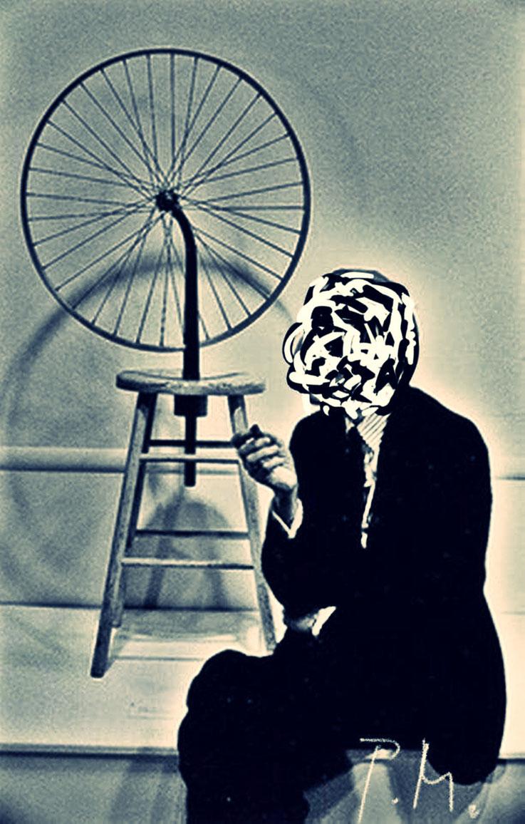 Pedro Meier Marcel Duchamp Übermalung Paraphrase zu Readymade Fahrrad-Rad NYC – DigitalArt Intervention by © Pedro Meier Multimedia Artist – Kunsthalle Olten Offspace – Atelier Gerhard Meier-Weg Niederbipp und Bangkok Thailand – PhotoArt DADA, SIKART ZH