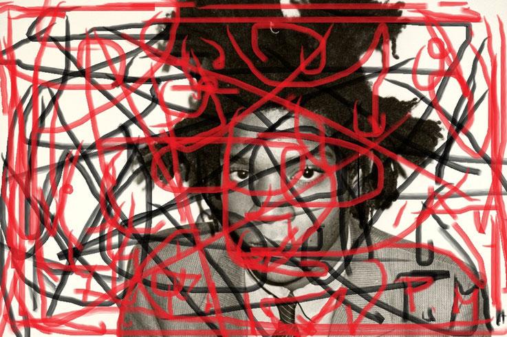 Pedro Meier DigitalArt – Jean-Michel Basquiat – Paraphrase Nr. 21 – Portrait overpainted 2015 Artwork by © Pedro Meier Multimedia Artist MoMA – Visual Art Museum Bangkok – FLUXUS – DADA – ComputerArt. SIKART Zürich – Niederbipp Bern, Solothurn Switzerland