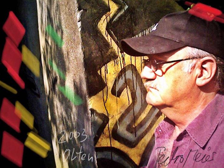 Pedro Meier – Holzbrücke Olten Aare Graffiti – PhotoArt by © Pedro Meier Multimedia Artist – »Selfie-Art-Project« 2003 – Atelier Gerhard Meier-Weg Niederbipp und Bangkok Thailand. Kunsthalle Olten Offspace. DADA FLUXUS MailArt DigitalArt VISARTE SIKART