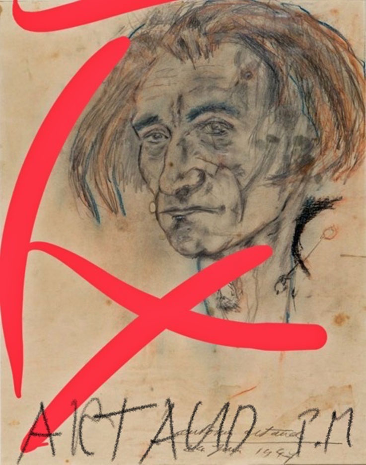 Pedro Meier – Antonin Artaud – Paraphrase zu Selbstbildnis von 1947 – Art Work by © Pedro Meier Swiss-German Multimedia Artist Visual Art Museum MoMA – FLUXUS – DADA – DigitalArt – ComputerArt – MailArt – Artists' Books – SelfieArt – SIKART Zürich, EUROPE