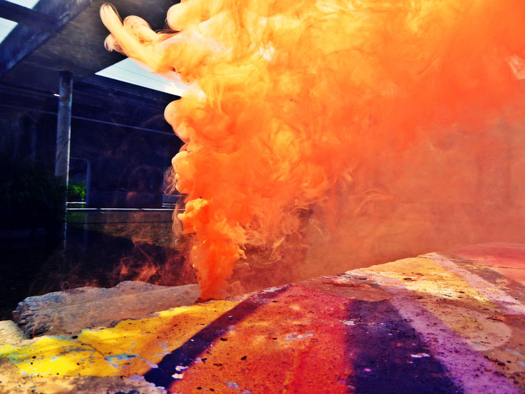 Pedro Meier Rauch Performance Uferpark, Yellow Colour Smoke Bomb Action »Pink Flamingo«, Campus Attisholz Areal Solothurn, Kantine 1881, © by Pedro Meier Multimedia Artist Niederbipp. Kunsthalle Olten. Bangkok Art Group BACC Visarte. Lexikon SIKART Zürich
