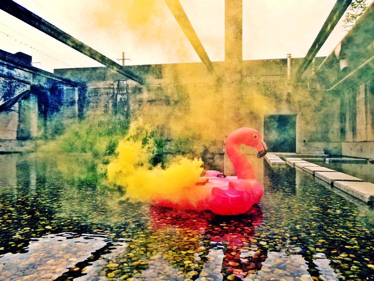 Pedro Meier Uferpark Rauch Performance, Colour Smoke Bomb Action »Pink Flamingo – Weisses Einhorn« – Campus Attisholz Zellulosefabrik Areal, ehemalige Kläranlage. © by Pedro Meier Multimedia Artist Niederbipp. Bangkok Art Group BACC. Lexikon SIKART Zürich