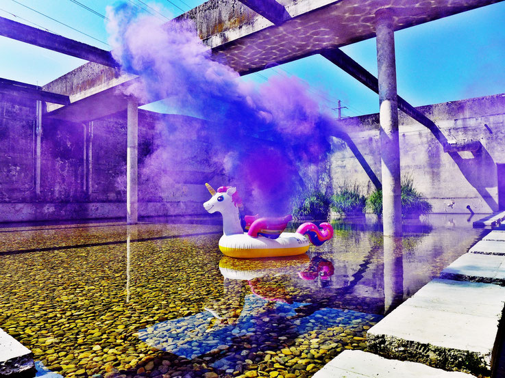 Pedro Meier Campus Attisholz Areal Uferpark »Weisses Einhorn«, Pink Colour Smoke Bomb Action. Rauch Performance, Kantine 1881 Luterbach © by Pedro Meier Multimedia Artist Niederbipp. Kunsthalle Olten. Bangkok Art Group BACC Visarte. Lexikon SIKART Zürich
