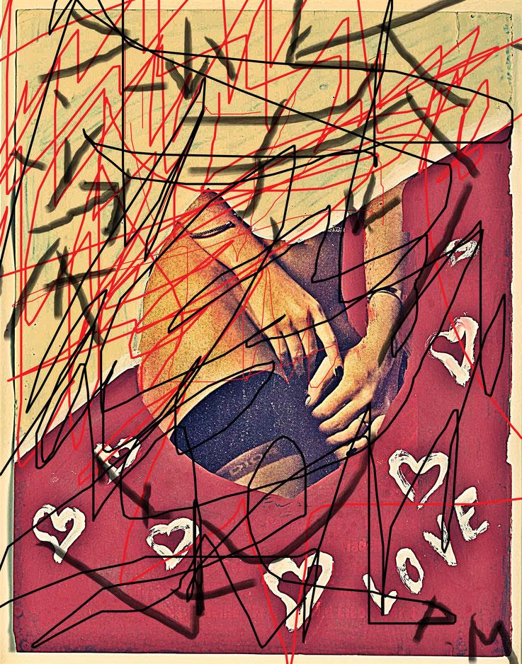 Pedro Meier übermalt »Franz West Übermalungen« – Untitled (Love) – Pornomagazinseiten – Mischtechnik, Collage Papier – Nr. 08 – 2017 Photo & Art Work © Pedro Meier Multimedia Artist / ProLitteris – Gerhard Meier Weg – Atelier: Niederbipp – Olten – Bangkok