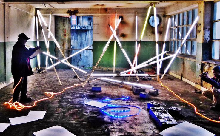 Pedro Meier Art – »Olymp Illuminated – Zeus Diaries« – Minotaurus Project – Light art, Sound art, Klangkunst Lichtkunst. ArtCampus Switzerland – is a tribute to the DADA-Movement – Photo Nr. 25 © Pedro Meier Multimedia Artist Niederbipp Gerhard Meier-Weg