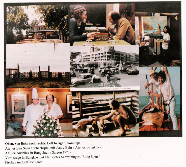 Aus Buch Pedro Meier »Werke/Paintings – 1979-1981« Elephant Press Bangkok Thailand / Opere Verlag Bern 1987 – von oben links nach rechts: Atelier Bang Saen – Schachspiel mit André Behr, Atelier Bangkok. Golf von Siam – Saigon 1973 – HP Schwaninger, Fische