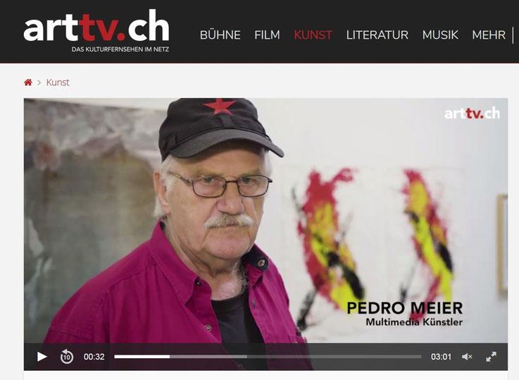 Pedro Meier ART-TV Kulturfernsehen – Ausstellung »Work in Progress« 2017 – Stiftung Eggenschwiler – Eriswil – Pedro Meier Multimedia Artist Gerhard Meier Weg Niederbipp – Olten – Bangkok Kunstmuseum SIKART Zürich Museum MoMA Kunsthalle VISARTE Berlin usa