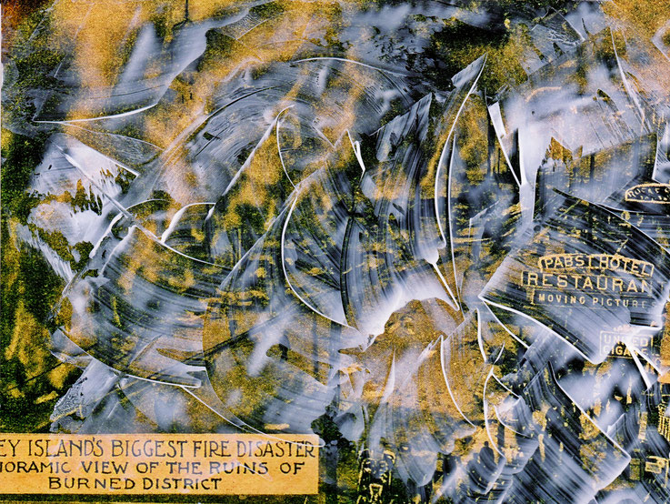 Pedro Meier – Burned District – Coney Island – Oil/lacquer on photo paper – Monotype – 2018 – Dreamland Luna Park, Brooklyn – New York – Photo © Pedro Meier Multimedia Artist MoMA Bangkok – FLUXUS – DADA – SIKART Zürich – Gerhard Meier Weg Niederbipp Amra