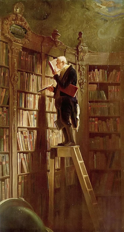Pedro Meier Bibliomane – Büchernarr wie Umberto Ego oder Jorge Luis Borges – hier das Gemälde von Carl Spitzweg – »Der Bücherwurm« 1850 – Archiv Pedro Meier Multimedia Artist Niederbipp (Ateliers: Olten Bangkok)
