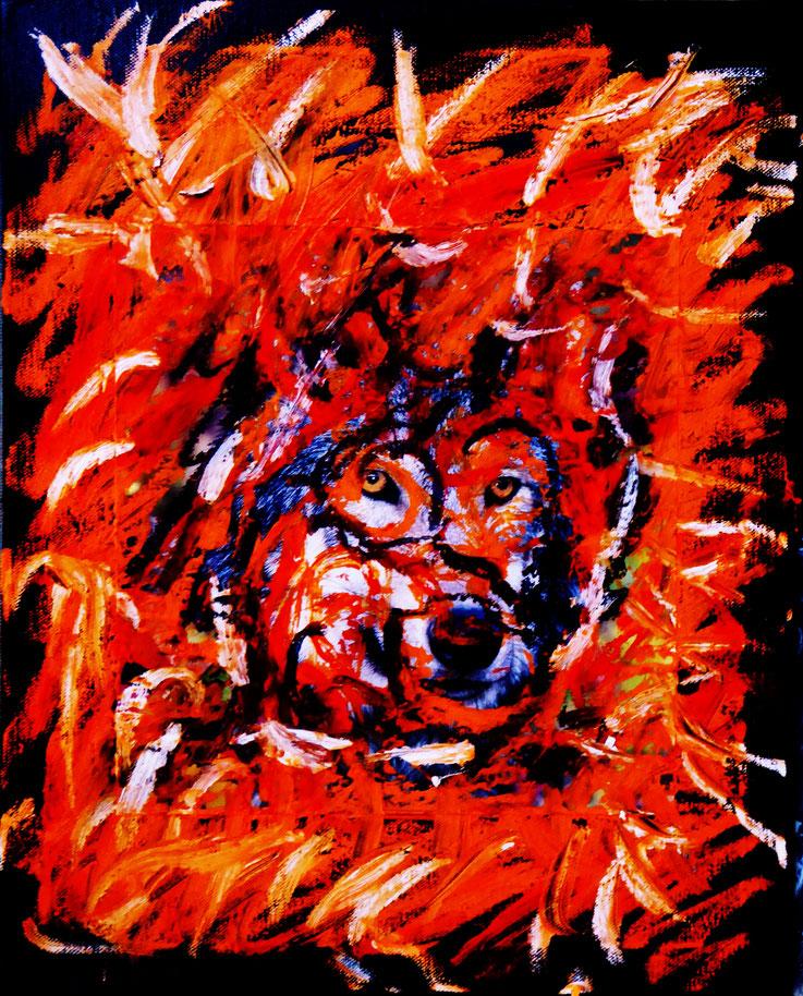Pedro Meier Artist – »Wolf – Kalenderblatt übermalt« Öl / Mischtechnik auf Papier auf Leinwand 2017 – Photo © Pedro Meier Multimedia Artist / ProLitteris – Gerhard Meier Weg – Niederbipp – Olten – Bangkok